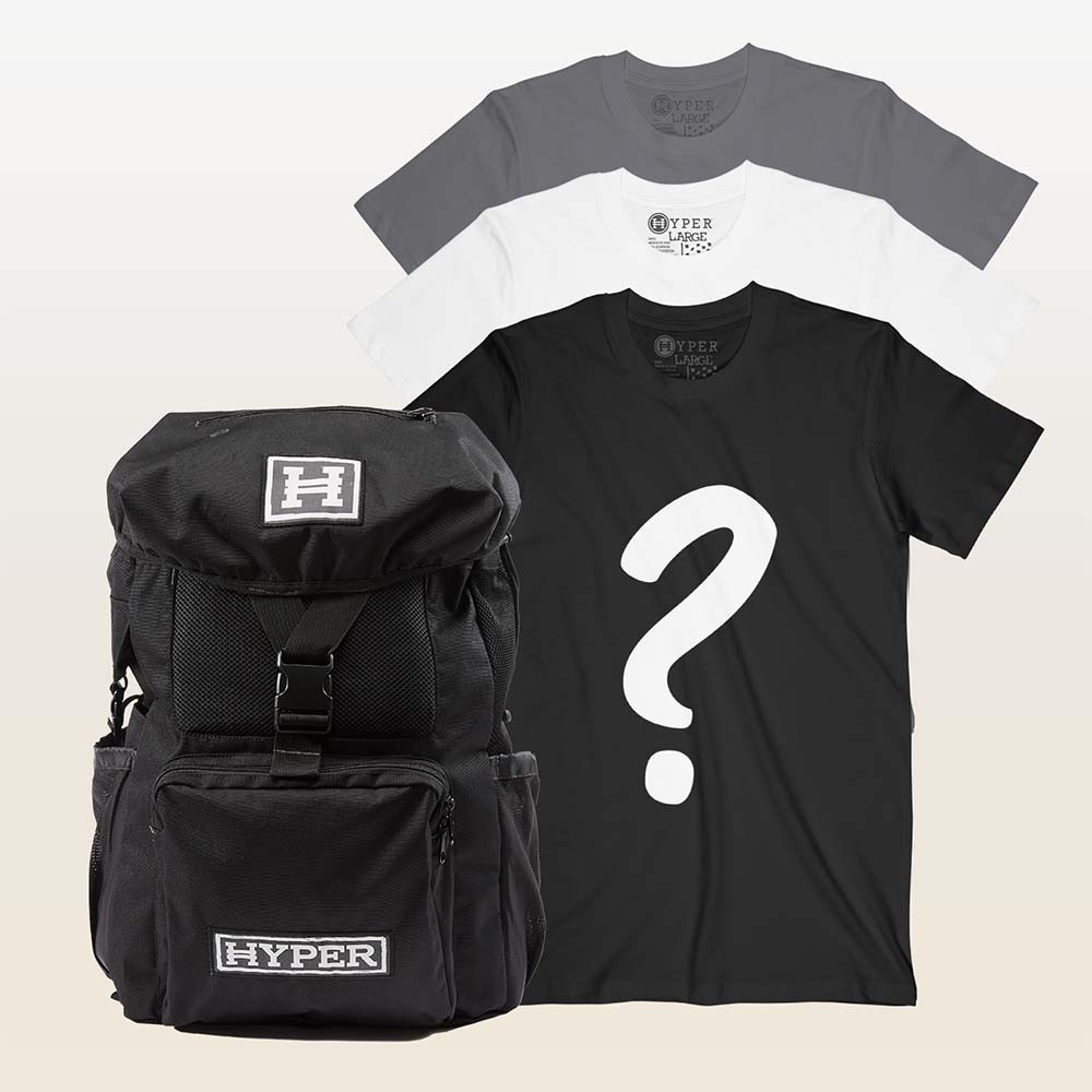 3 Mystery Tees + Backpack